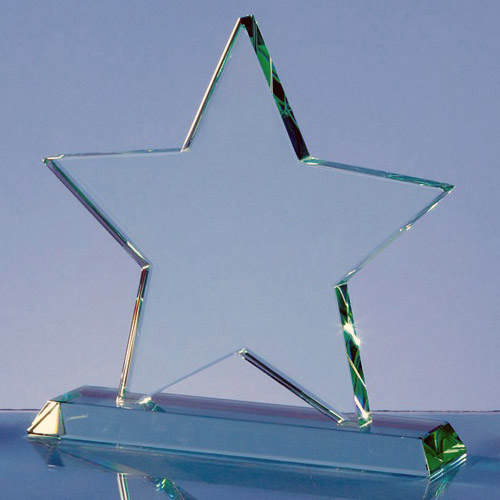 Jade glass star on base small