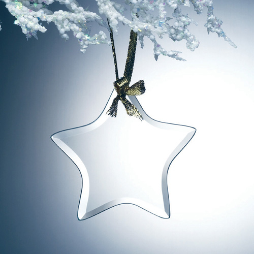 Beveled Jade Glass Ornament - Star