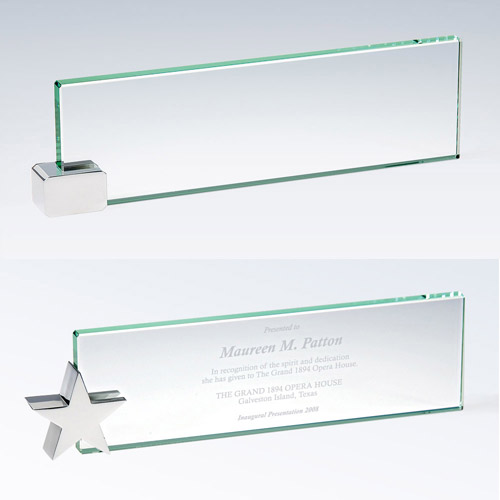 Jade Nameplate W/Chrome Star Holder