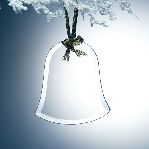 Beveled Jade Glass Ornament - Bell