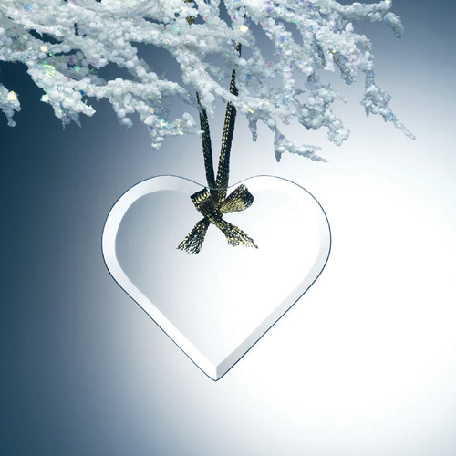 Beveled Jade Glass Ornament - Heart