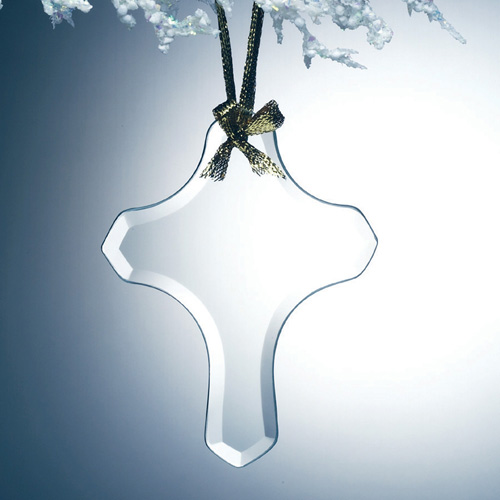 Beveled Jade Glass Ornament - Cross