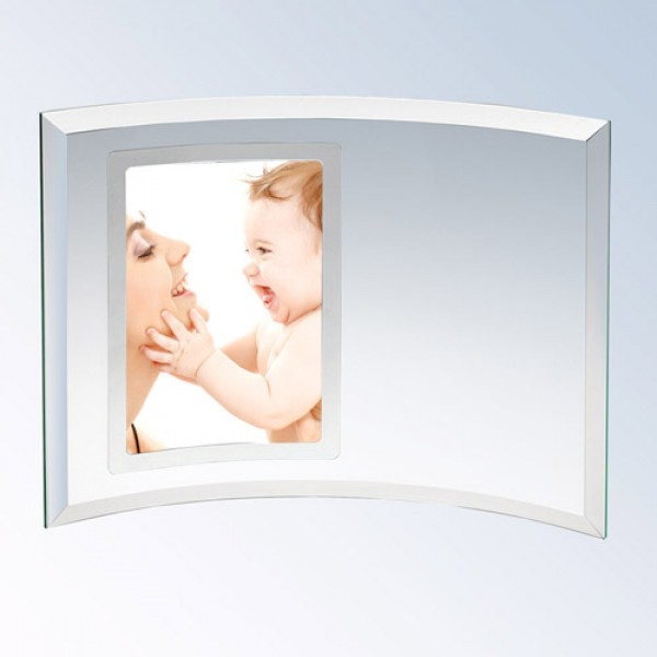Curved Glass vertical Photo Frame-Silver-Small