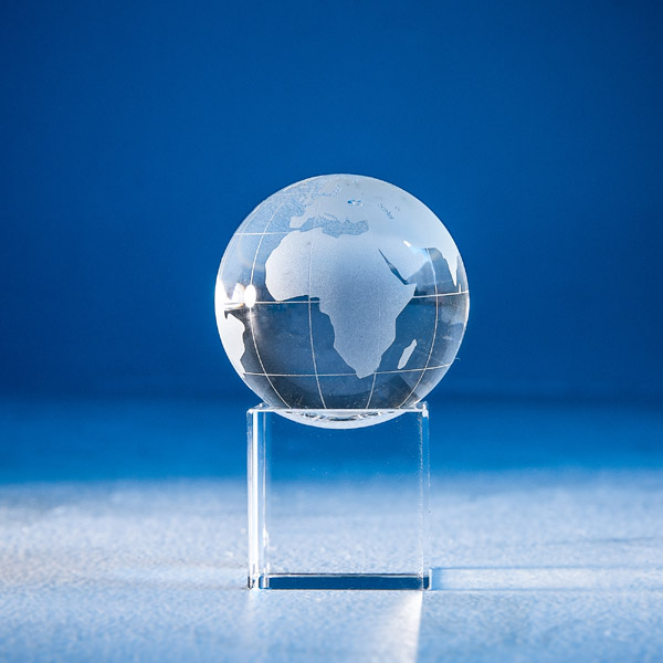 World Globe Longitude and Latitude with Cube Base
